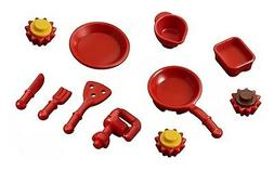 LEGO MINIFIGURE KITCHEN SET ~ Friends Red Food Dishes Mixer